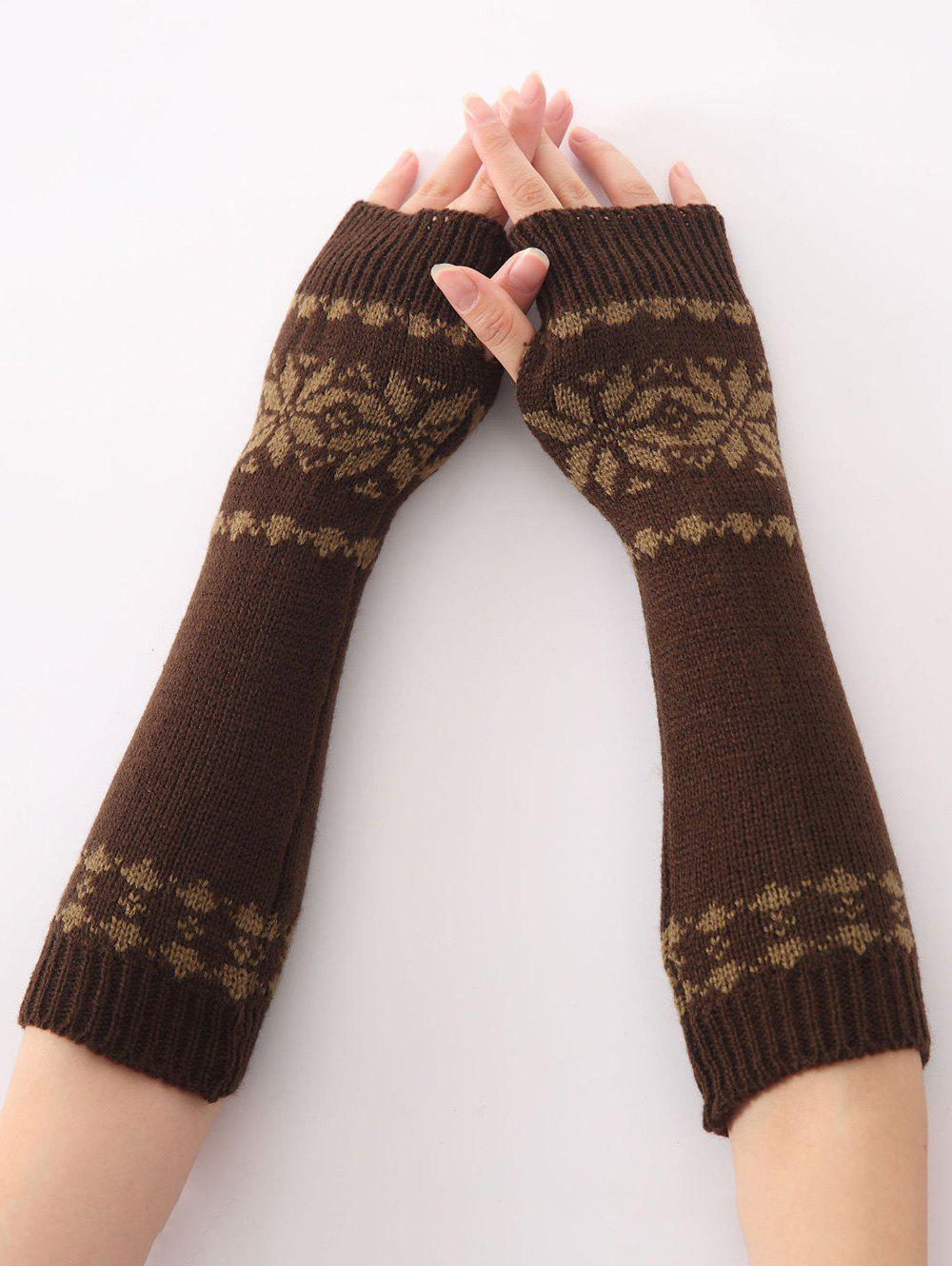 Winter Warm Christmas Snow Floral Crochet Knit Arm WarmersACCESSORIES<br><br>Color: COFFEE; Group: Adult; Gender: For Women; Style: Fashion; Glove Length: Elbow; Pattern Type: Floral; Material: Acrylic; Weight: 0.066kg; Package Contents: 1 x Arm Warmers(Pair);