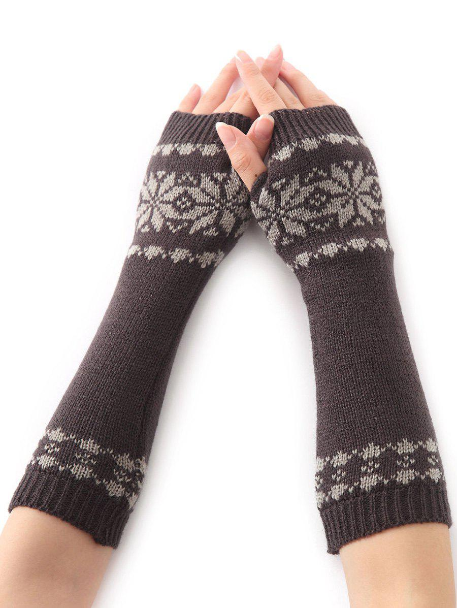 Winter Warm Christmas Snow Floral Crochet Knit Arm WarmersACCESSORIES<br><br>Color: DEEP GRAY; Group: Adult; Gender: For Women; Style: Fashion; Glove Length: Elbow; Pattern Type: Floral; Material: Acrylic; Weight: 0.066kg; Package Contents: 1 x Arm Warmers(Pair);