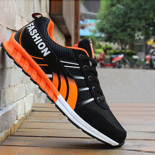 Buy Color Block Letter Pattern Lace-Up Athletic Shoes