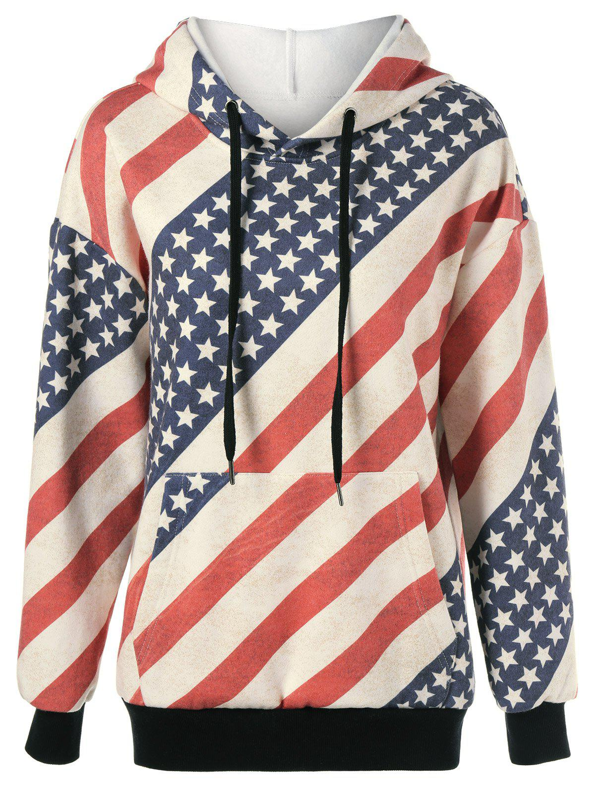 Shop American Flag Distressed Drawstring Hoodie