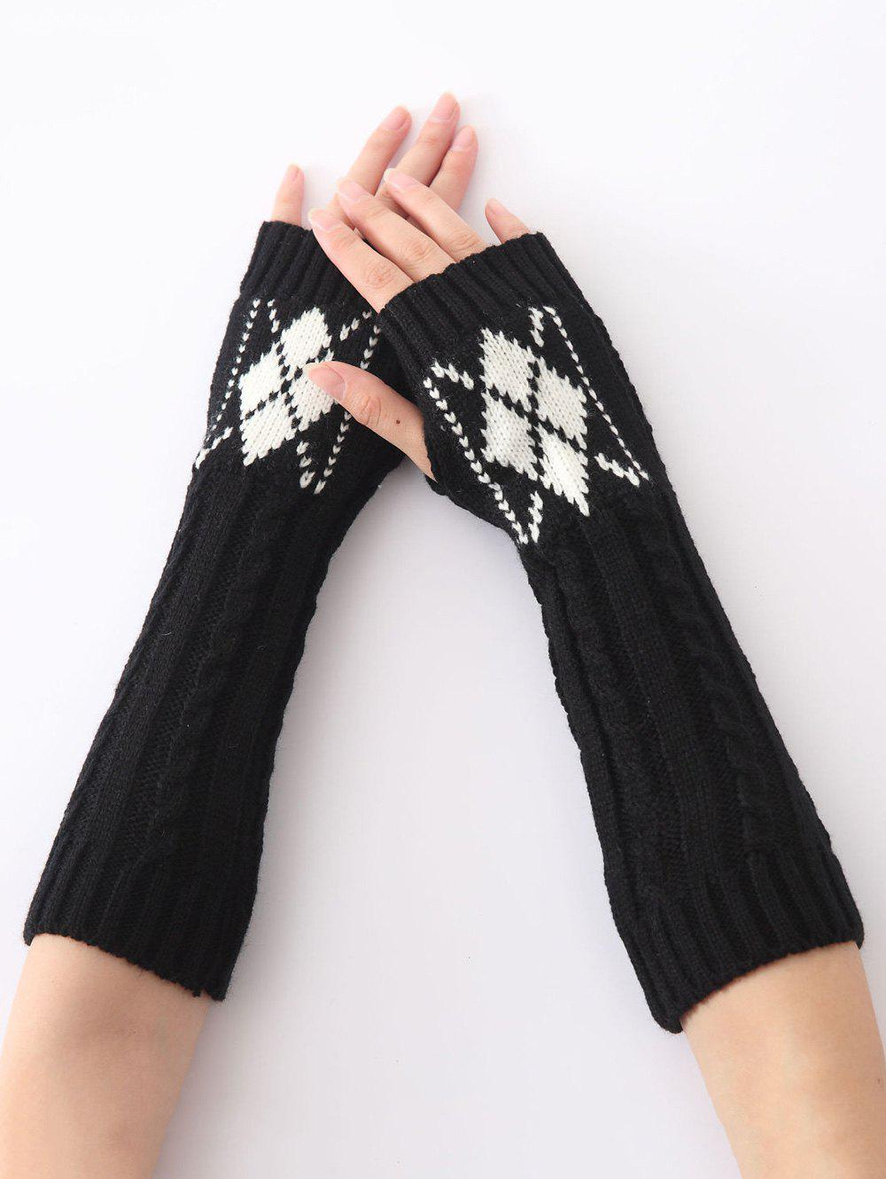 Hemp Decorative Pattern Diamond Christmas Crochet Knit Arm WarmersACCESSORIES<br><br>Color: BLACK; Group: Adult; Gender: For Women; Style: Fashion; Glove Length: Elbow; Pattern Type: Floral; Material: Acrylic; Weight: 0.073kg; Package Contents: 1 x Arm Warmers(Pair);