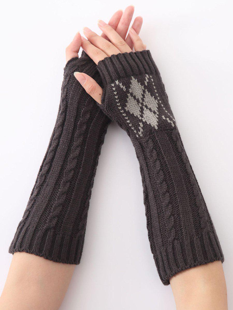 Hemp Decorative Pattern Diamond Christmas Crochet Knit Arm WarmersACCESSORIES<br><br>Color: DEEP GRAY; Group: Adult; Gender: For Women; Style: Fashion; Glove Length: Elbow; Pattern Type: Floral; Material: Acrylic; Weight: 0.073kg; Package Contents: 1 x Arm Warmers(Pair);