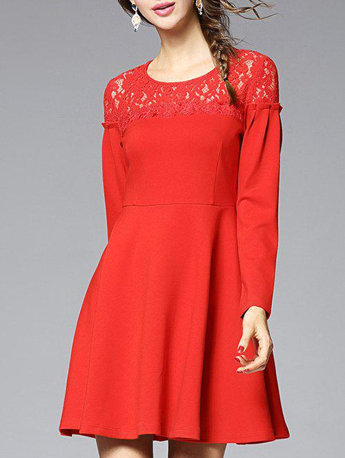 Buy Lace-Insert Slimming A-Line Dress