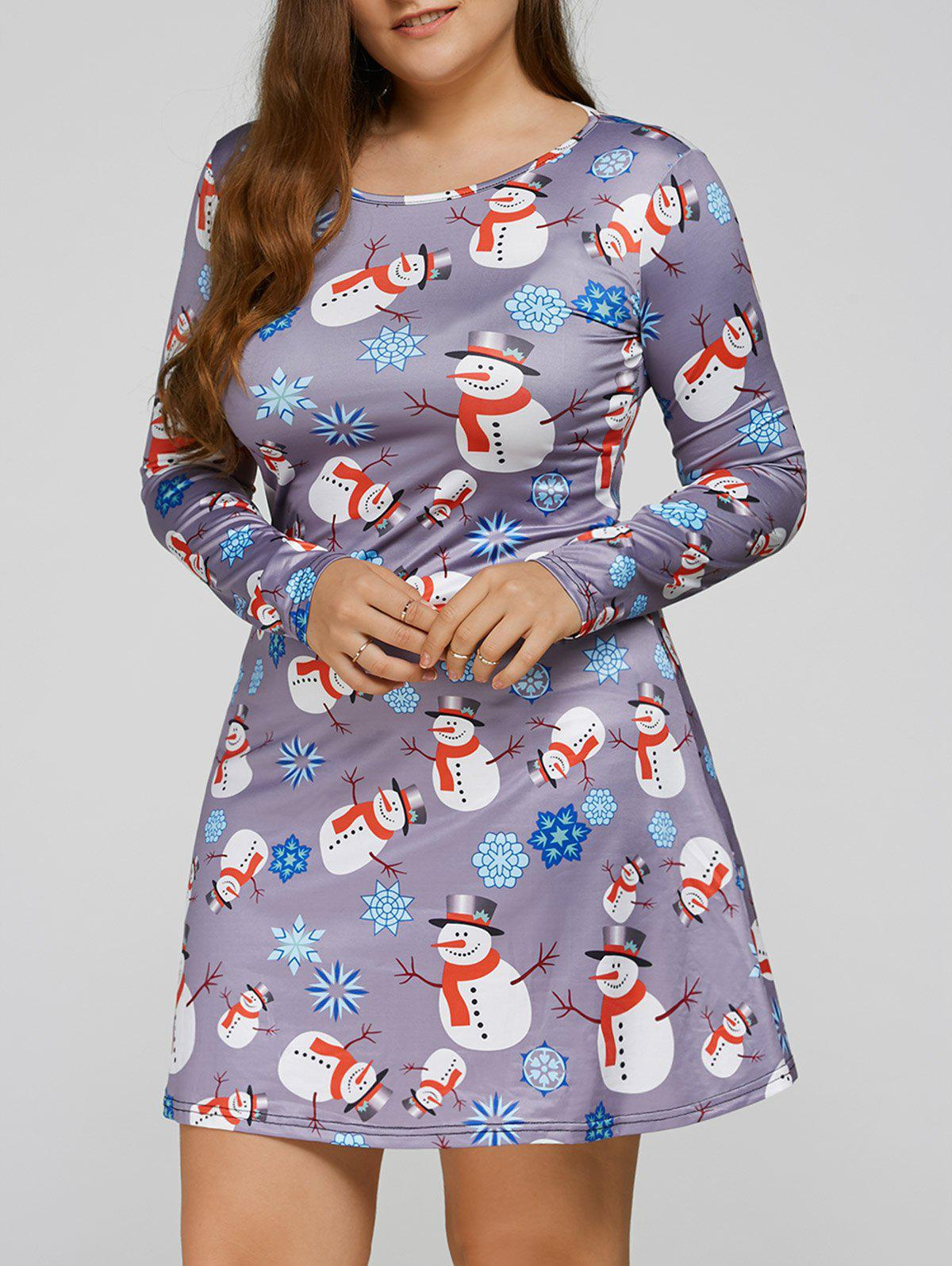 Long Sleeve Snowman Print Plus Size Christmas Skater DressWOMEN<br><br>Size: XL; Color: BLUE GRAY; Style: Casual; Material: Polyester; Silhouette: A-Line; Dresses Length: Mini; Neckline: Scoop Neck; Sleeve Length: Long Sleeves; Pattern Type: Character; With Belt: No; Season: Fall,Spring; Weight: 0.250kg; Package Contents: 1 x Dress;