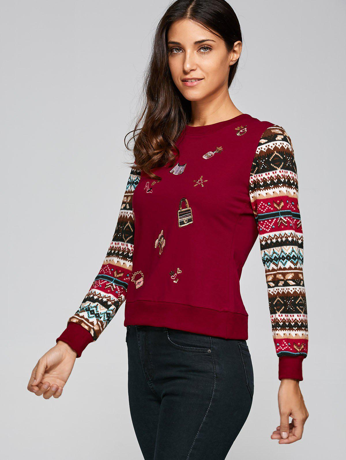 Fashion Festival Sequins Embroidery Christmas Graphic Sweatshirt