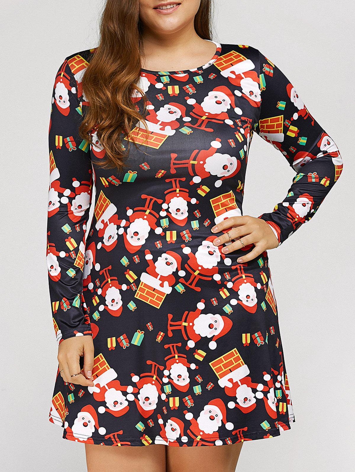 Long Sleeve Santa Plus Size Christmas Swing DressWOMEN<br><br>Size: XL; Color: BLACK; Style: Casual; Material: Polyester; Silhouette: A-Line; Dresses Length: Mini; Neckline: Scoop Neck; Sleeve Length: Long Sleeves; Pattern Type: Character; With Belt: No; Season: Fall,Spring; Weight: 0.250kg; Package Contents: 1 x Dress;
