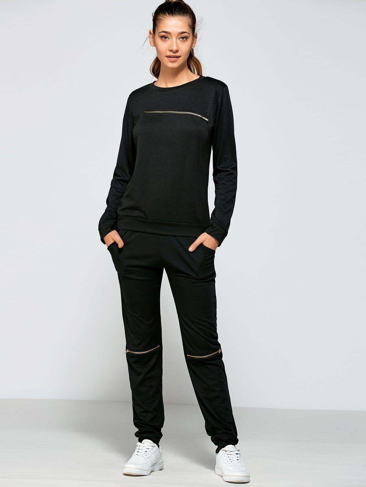 Shop Zippered Sweatshirt and Pants with Pocket