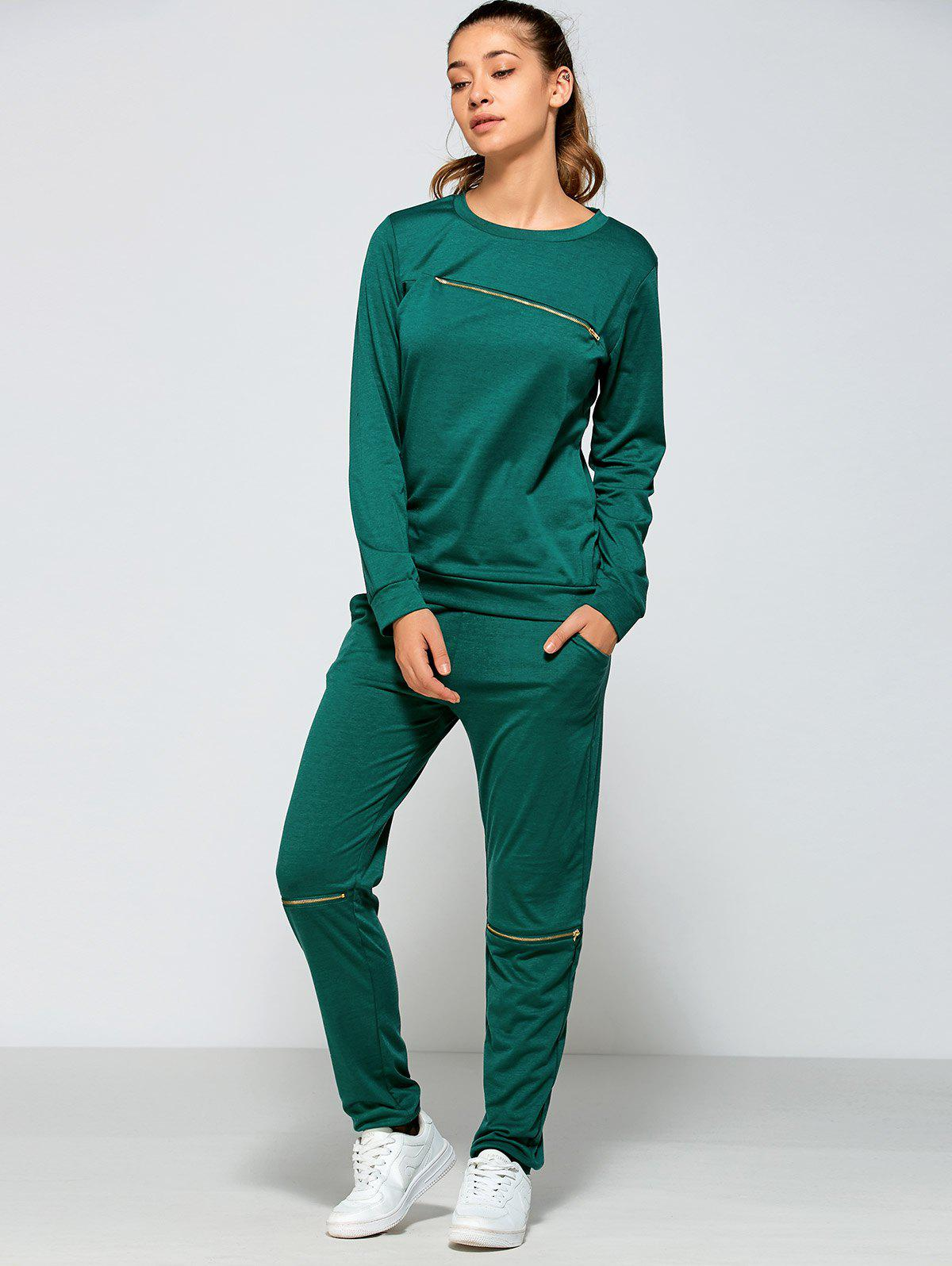 Cheap Zippered Sweatshirt and Pants with Pocket