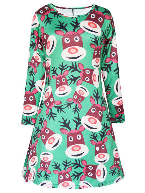 Long Sleeve Elk Christmas Mini Swing DressWOMEN<br><br>Size: M; Color: GREEN; Style: Casual; Material: Polyester; Silhouette: A-Line; Dresses Length: Mini; Neckline: Scoop Neck; Sleeve Length: Long Sleeves; Pattern Type: Character; Placement Print: No; With Belt: No; Season: Fall,Spring; Weight: 0.250kg; Package Contents: 1 x Dress;