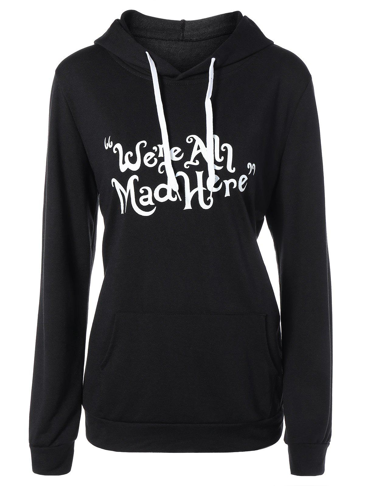 Funny Graphic Print Plus Size HoodieWOMEN<br><br>Size: 3XL; Color: BLACK; Material: Polyester; Shirt Length: Regular; Sleeve Length: Full; Collar: Hooded; Style: Casual; Season: Fall,Spring,Winter; Pattern Type: Letter; Weight: 0.370kg; Package Contents: 1 x Hoodie;