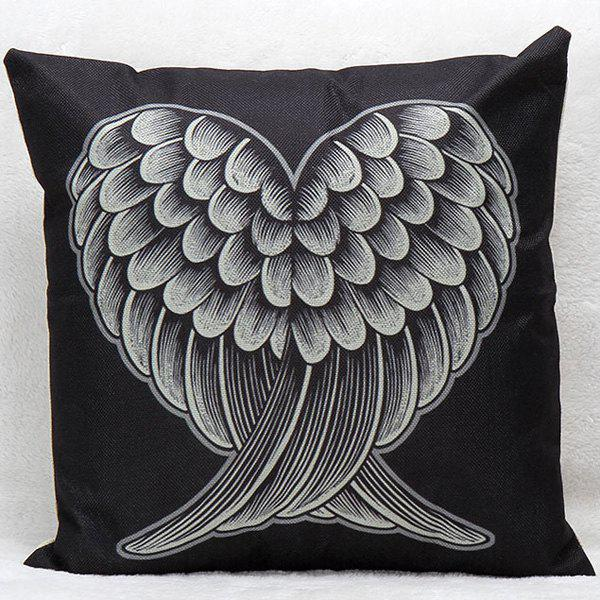 Soft Decorative Household Red and Black Heart Wings Pillow CaseHOME<br><br>Color: BLACK; Material: Polyester / Cotton; Pattern: Printed; Style: Modern/Contemporary; Shape: Square; Size(CM): 45*45; Weight: 0.203kg; Package Contents: 1 x Pillow Case;