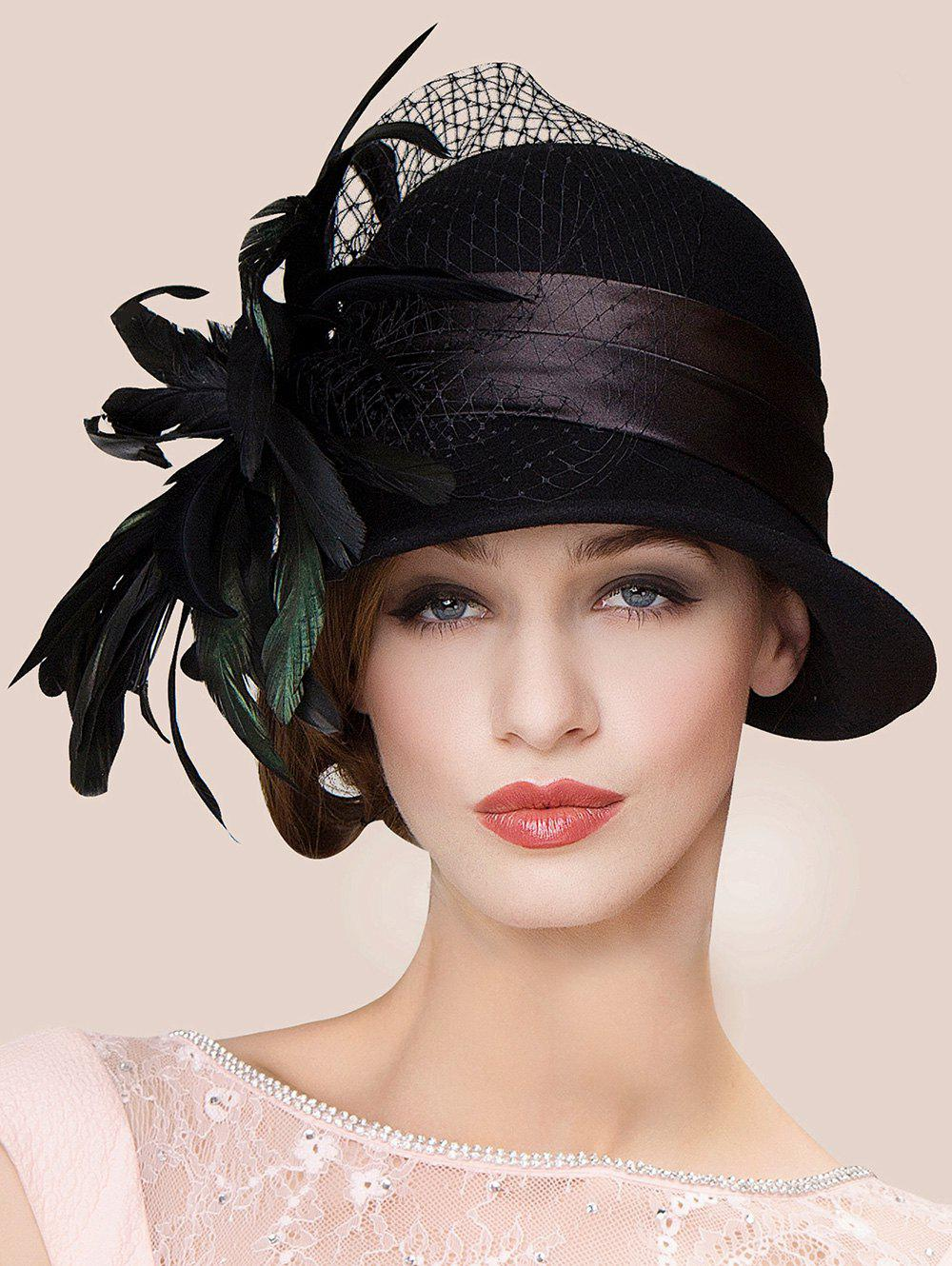 Charming Feather Ribbon Band Bowler HatACCESSORIES<br><br>Color: BLACK; Hat Type: Fedoras; Group: Adult; Gender: For Women; Style: Vintage; Pattern Type: Feather; Material: Wool; Circumference (CM): 57CM; Weight: 2.625kg; Package Contents: 1 x Hat;
