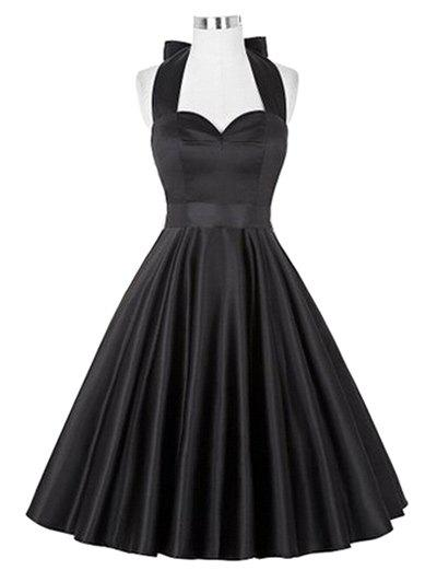 Sale Retro Ruched Hem Halter Swing Prom Dress