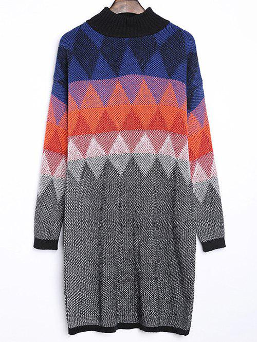Discount Argyle Jacquard Loose-Fitting Sweater Dress