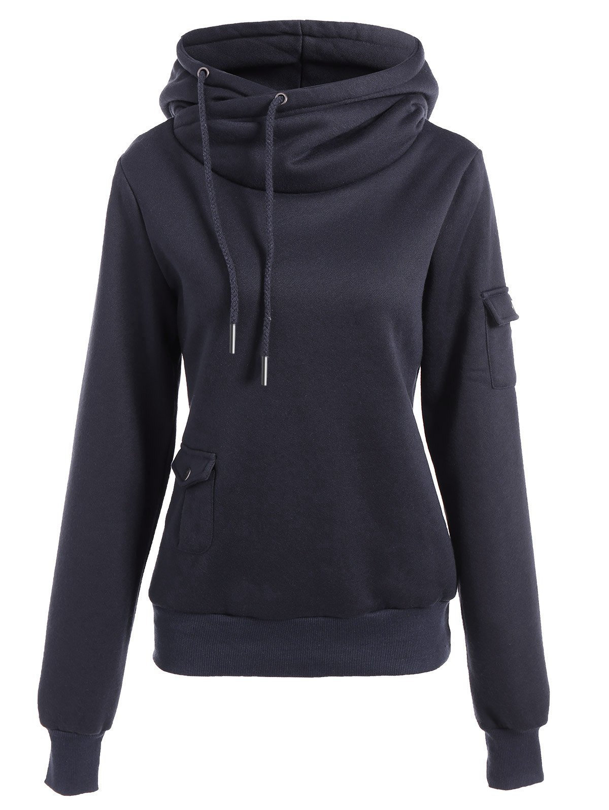 Outfits Fashionable Irregular Hooded Solid Color Buttoned Hoodie For Women