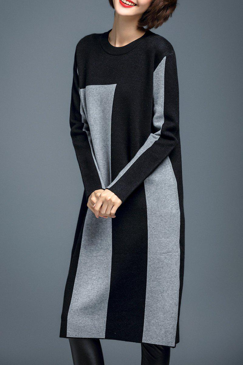 Woolen Color Block Robe en maille Gris XL
