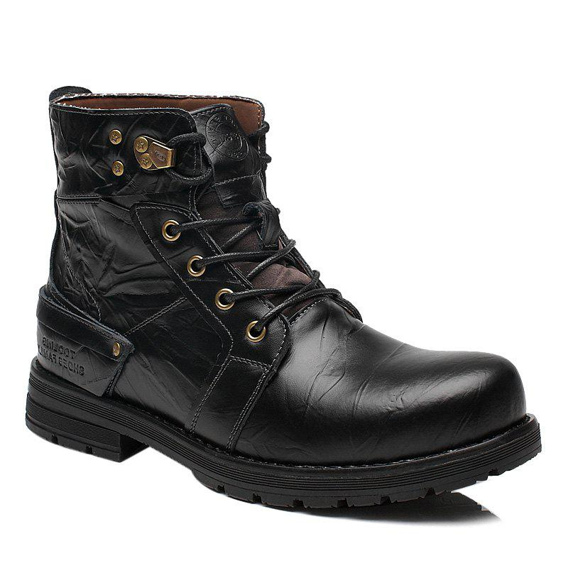 Store Lace Up PU Leather Metal Boots