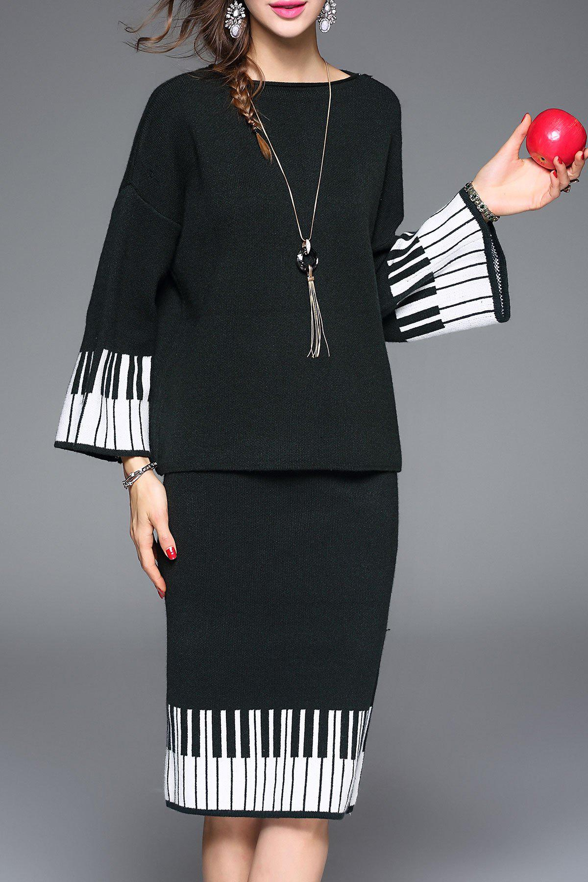 Latest Striped Sweater and Knee Length Sheath Skirt