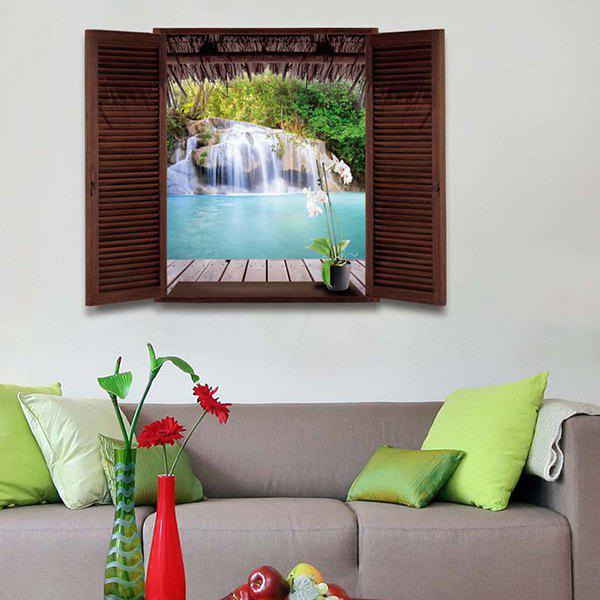 Waterfall Scenery Window Design 3D Wall StickersHOME<br><br>Color: COLORMIX; Wall Sticker Type: 3D Wall Stickers; Functions: Decorative Wall Stickers; Theme: Landscape; Material: PVC; Feature: Removable; Size(L*W)(CM): 50*70CM; Weight: 0.250kg; Package Contents: 1 x Wall Stickers;