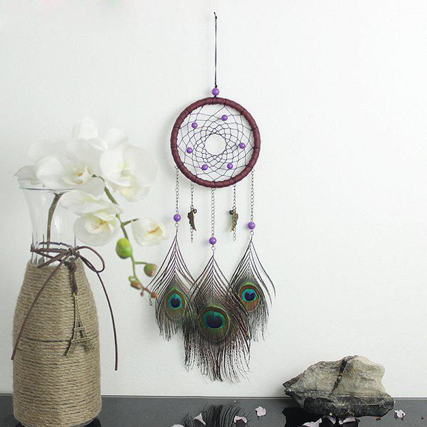 Circular Net With Peacock Feathers Dreamcatcher Wall Hanging DecorHOME<br><br>Color: COLORMIX; Style: Modern/Contemporary; Categories: Gadgets; Material: Polyester; Size(CM): 47?Length?*11?Diameter?; Weight: 0.121kg; Package Contents: 1 x Dreamcatcher;