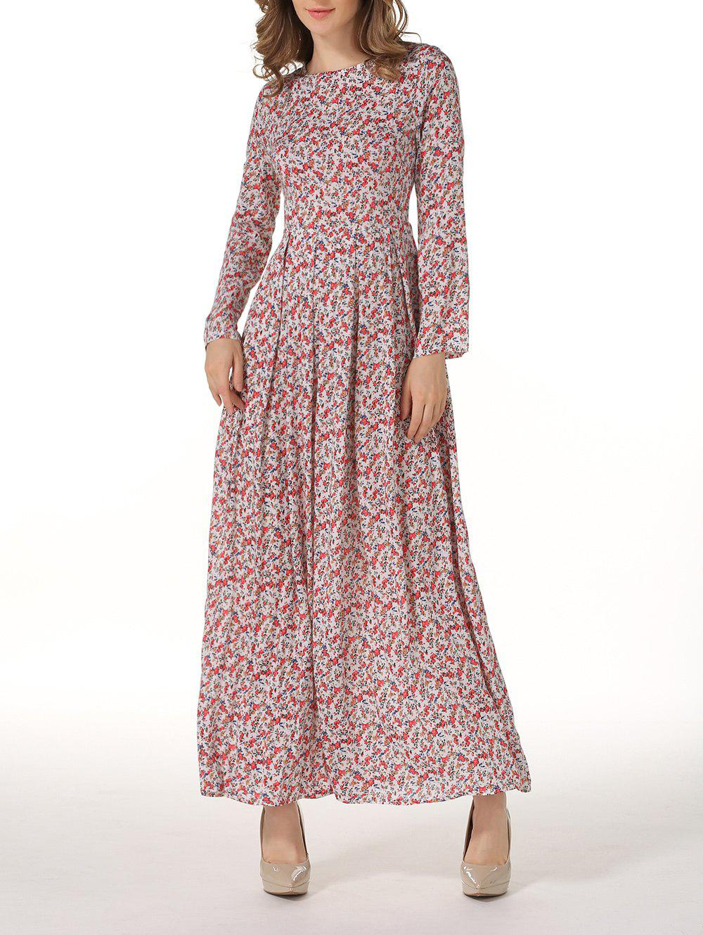 Shop Round Neck Long Sleeve Floral Maxi Dress