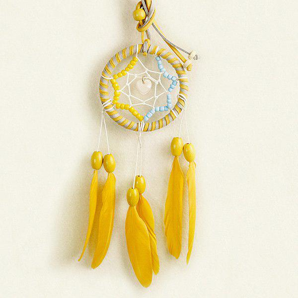 Hot Selling Circular Net With Feathers Loving Heart Dreamcatcher Wall Hanging DecorHOME<br><br>Color: BLUE AND YELLOW; Style: Modern/Contemporary; Categories: Gadgets; Material: Polyester; Size(CM): 21?Length?*7?Diameter?; Weight: 0.121kg; Package Contents: 1 x Dreamcatcher;