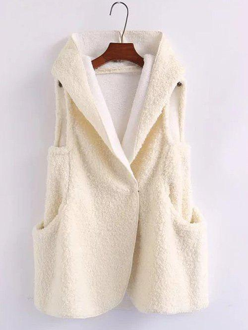 Fancy Pompon Shearling Hooded Vest