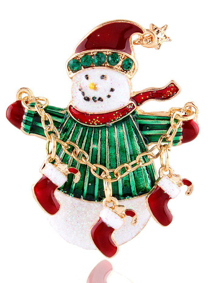 Snowman Star Christmas Shoes Rhinestone BroochJEWELRY<br><br>Color: GOLDEN; Brooch Type: Brooch; Gender: For Women; Style: Trendy; Shape/Pattern: Star; Weight: 0.030kg; Package Contents: 1 x Brooch;