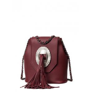 Snap Closure Tassels Chain Crossbody Bag - Wine Red