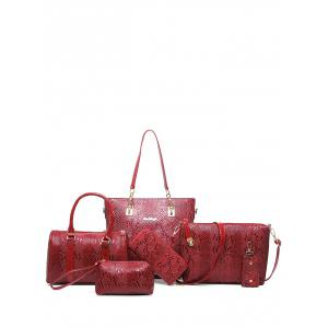 Metals Embossed PU Leather Shoulder Bag - Wine Red