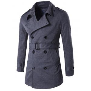 Double-Breasted Tab Cuff Epaulet Design Belted Trench Coat