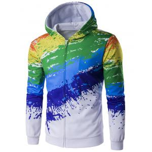 Paint Splash Printed Zip-Up Hoodie