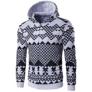 Geometric Printed Zip-Up Black and White Hoodie men
