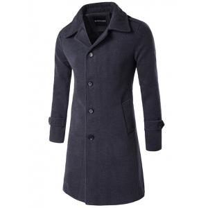 Single Breasted Wool Blend Wind Coat