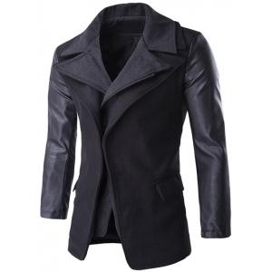 Zip-Up PU Spliced Faux Twinset Coat