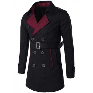 Notched Collar Color Block Double-Breasted Trench Coat - Black - M