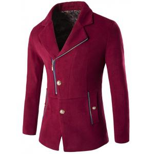 Zip + Button Fly Lapel Collar Wool Blend Coat - Wine Red - M
