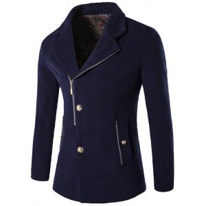Zip + Button Fly Lapel Collar Wool Blend Coat