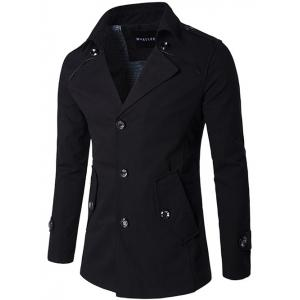 Single Breasted Epaulet Design Wind Coat - Black - 2xl