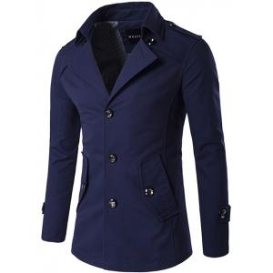 Single Breasted Epaulet Design Wind Coat - Purplish Blue - M