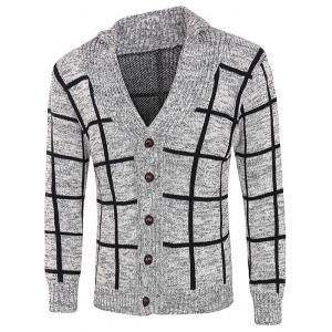 Grid Pattern Heathered Button Up Cardigan - Gray - Xl