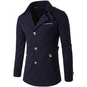 Single Breasted Zipper Pocket Epaulet Coat - Purplish Blue - 2xl