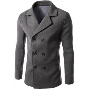 Double Breasted Lapel Collar Wool Blend Coat - Gray - 3xl
