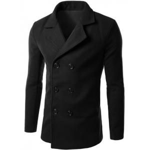 Double Breasted Lapel Collar Wool Blend Coat