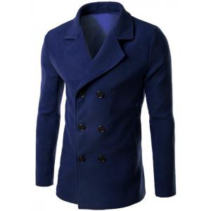 Double Breasted Lapel Collar Wool Blend Coat - Deep Blue - 3xl
