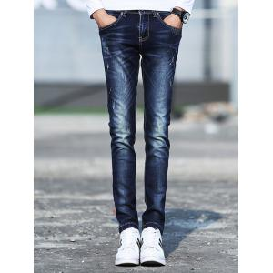 Skinny Jagger Paint Splatter Denim Jeans