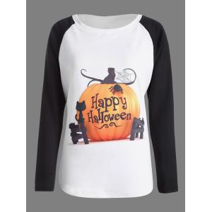 Pumpkin Print Raglan Sleeves Halloween T-Shirt - White And Black - Xl
