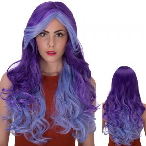 Stunning Long Side Bang Wavy Ombre Color Synthetic Wig