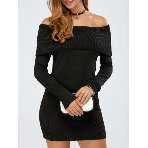 Off The Shoulder Knitted Mini Dress - Black - One Size