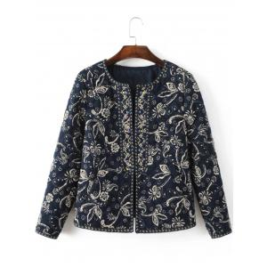 Ethnic Floral Embroidered Fitted Jacket